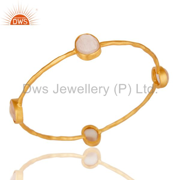 Supplier of 22k yellow gold plated brass natural rose quartz stackable bangle