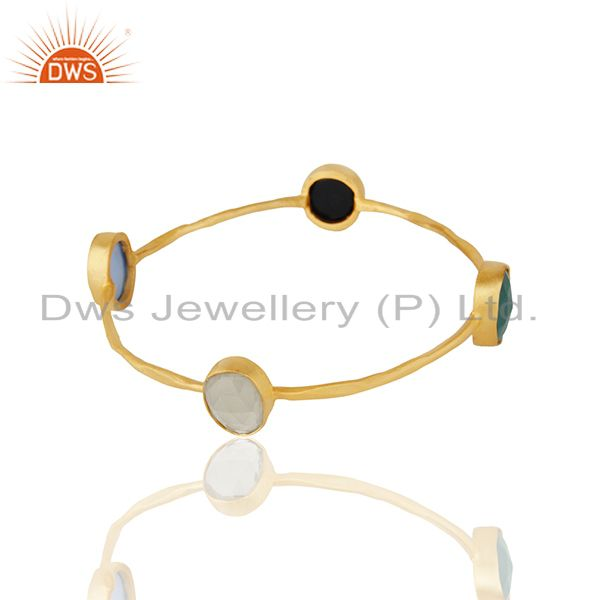 Supplier of Lemon topaz and black onyx gemstone fashion women bangle wholesale