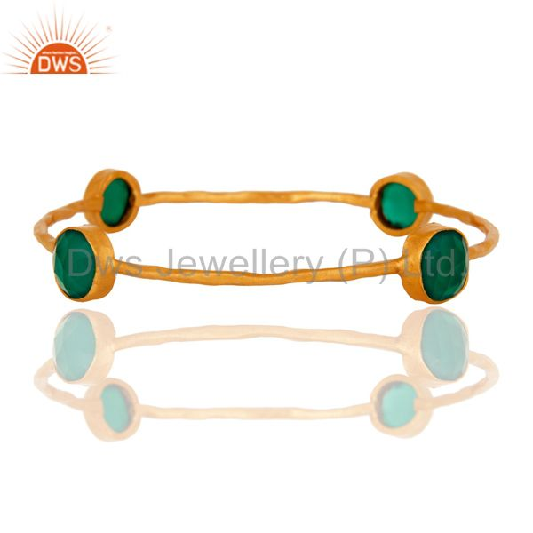 Exporter 18-Karat Yellow Gold Plated On Brass Women`s Fashion Bangle Set With Green Onyx