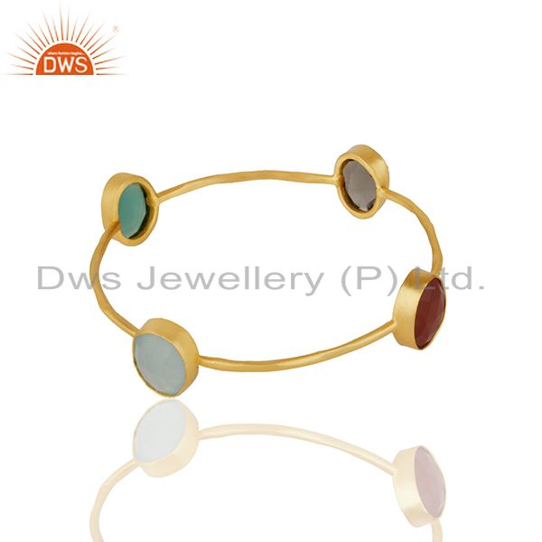 Supplier of Handmade bezel set multi gemstone gold plated brass bangle wholesale