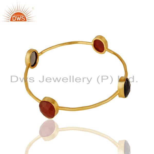 Supplier of Designer multi gemstone gold plated brass fashion bangle wholesale