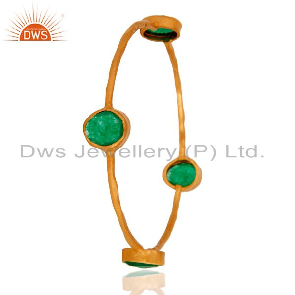 Supplier of 22k solid yellow gold green aventurine gemstone hammered bangle