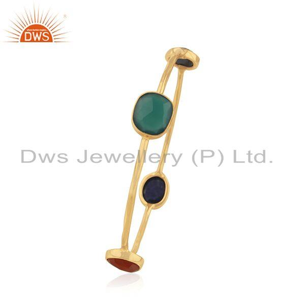 Supplier of Natural gemstone gold plated silver bangle jewelry supplier