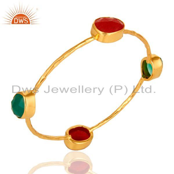 Supplier of Red aventurine green onyx sterling silver stack bangle gold plated