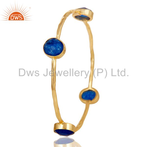 Supplier of 18k gold 925 silver natural blue aventurine gemstone stack bangle