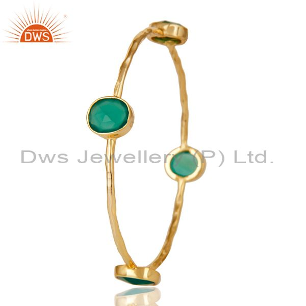 Supplier of 22k gold plated green onyx gemstone sterling silver sleek bangle