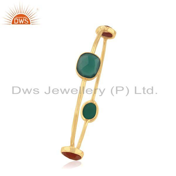 Supplier of Red and green onyx gemstone 925 silver bangle jewelry