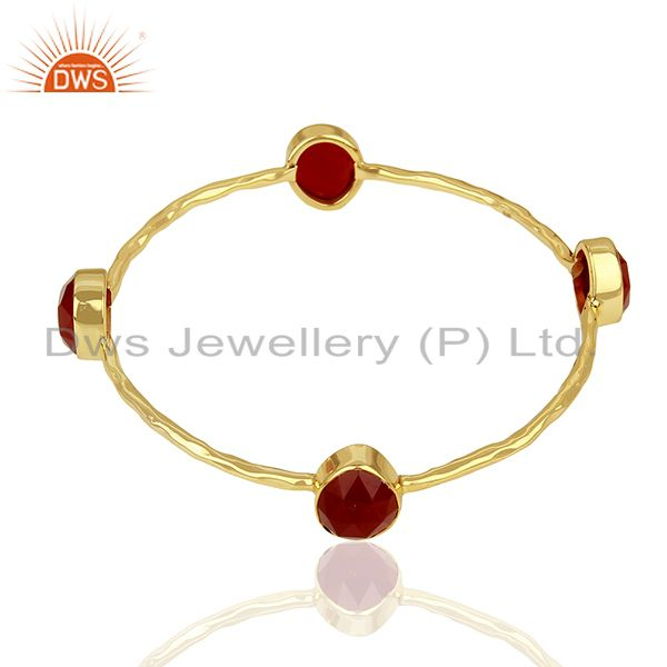 Supplier of Handmade 24k gold plated 925 sterling silver red aventurine bangle