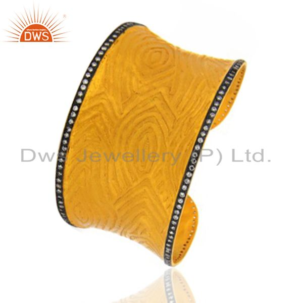 Exporter 22K Yellow Gold Plated Brass Cubic Zirconia Fashion Cuff Bracelet Wide Bangle