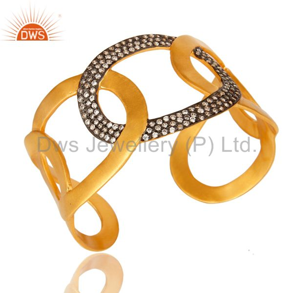 Exporter 18K Yellow Gold Plated Designer Wide Cuff Bracelet Bangle With Cubic Zirconia