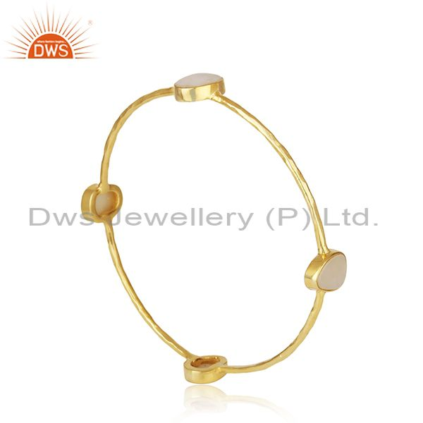 Exporter Mother of Pearl Gold Plated Brass Fashion Stackable Bangle Wholesaler