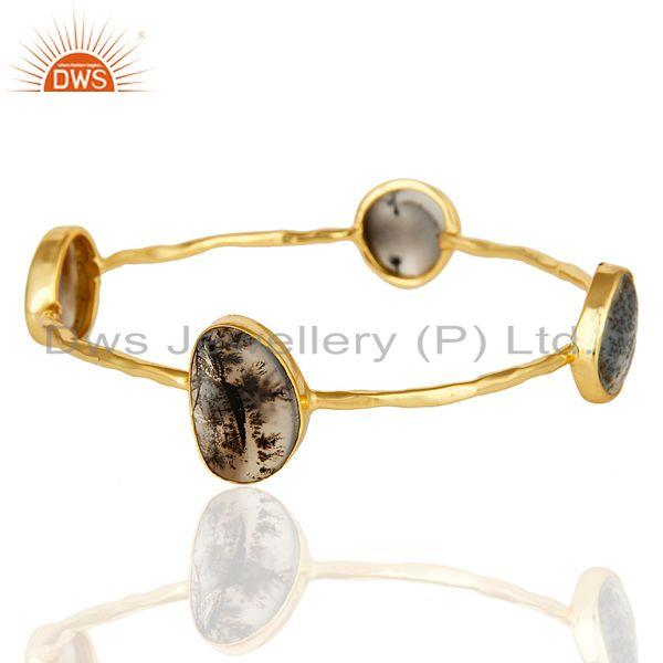 Supplier of 14k yellow gold over sterling silver dendritic opal gemstone bangle