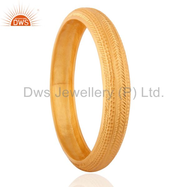 Supplier of 18k gold on bangles solid 925 silver plain round hammered texture