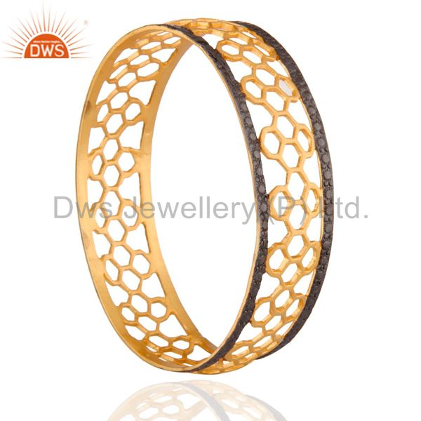Supplier of New 18k gold over 925 sterling silver hollow flower design bangle