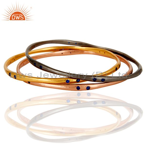 Supplier of Genuine 18k yellow gold blue zircon set 3 bangle fashion jewelry
