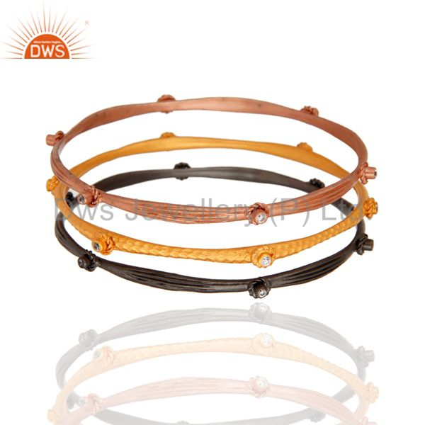 Exporter 18K Gold Plated Clear Cubic Zirconia Bangle Bracelet Best Gift For Her Three Pcs