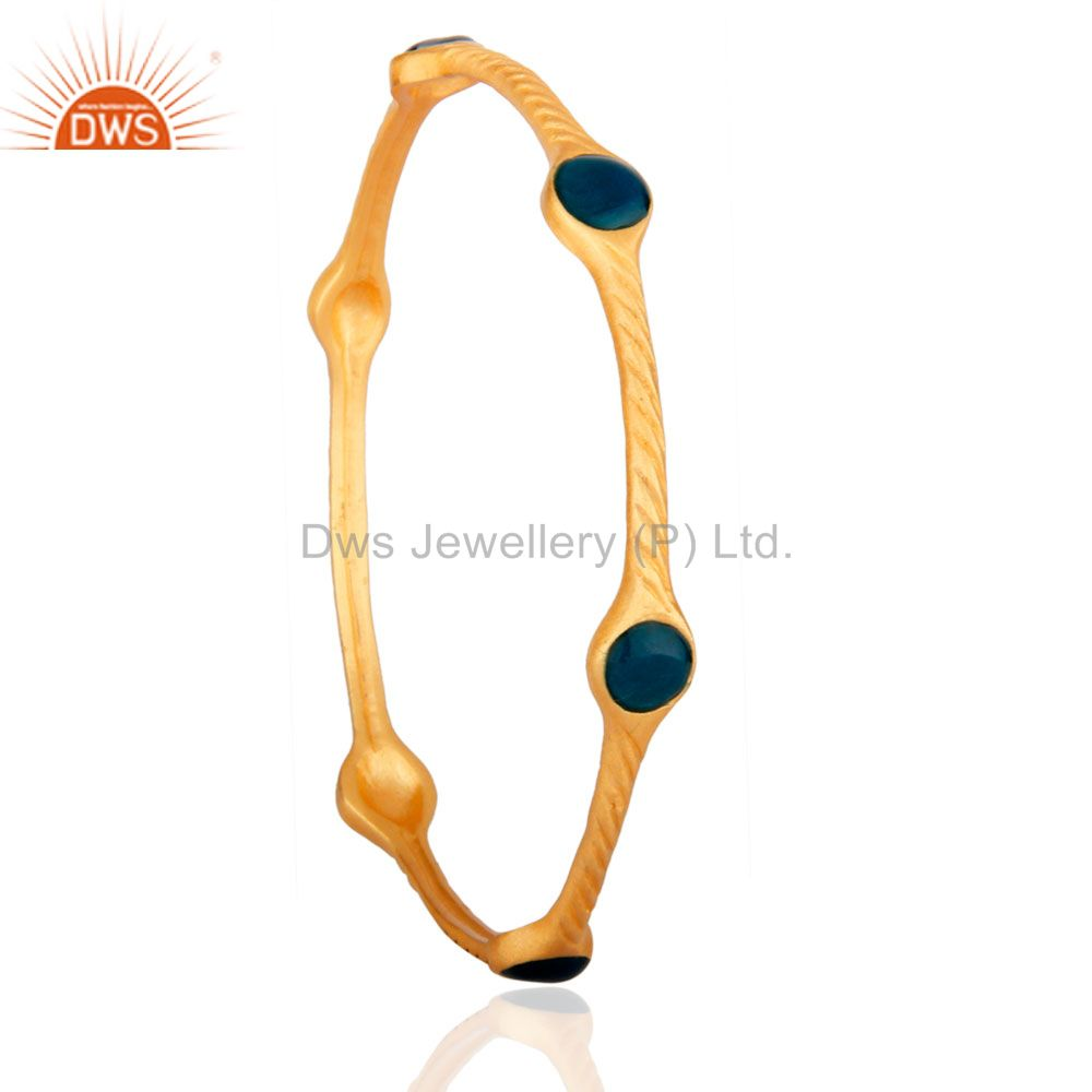 Supplier of 18k yellow gold over brass matte finish fashion bangle blue enamel