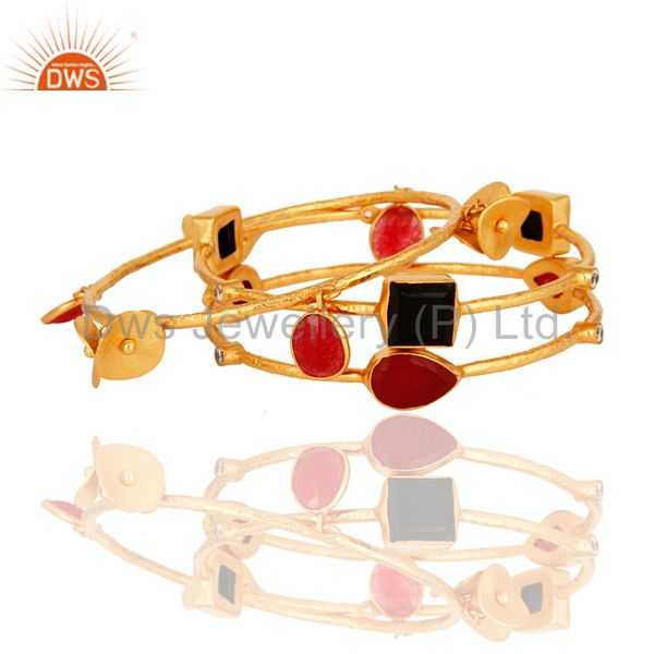 Supplier of 18k gold over brass matte finish red aventurine black onyx bangle