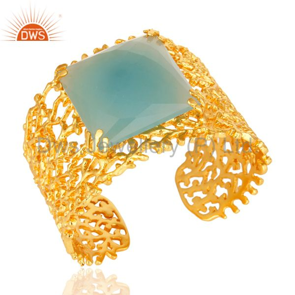 Exporter 18K Yellow Gold Plated Dyed Aqua Chalcedony Designer Wide Cuff Bracelet Bangle