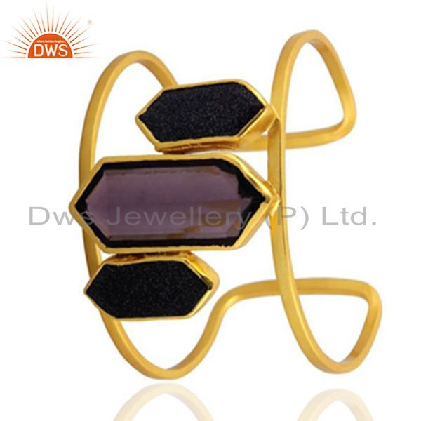 Exporter Handmade Hydro Amethyst And Sunstone 22K Yellow Gold Plated Brass Cuff Bracelet