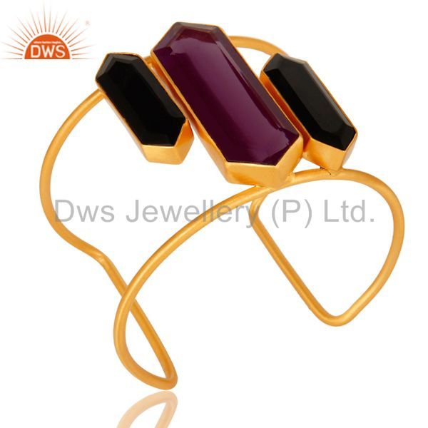 Exporter Hydro Amethyst And Black Onyx Gemstone 18K Gold Plated Cuff Bracelet Wide Bangle