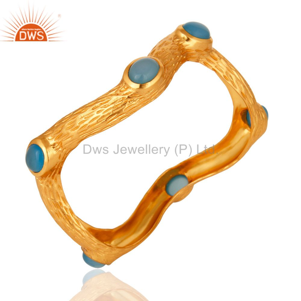 Supplier of Aqua blue chalcedony 18k yellow gold over designer textured bangle