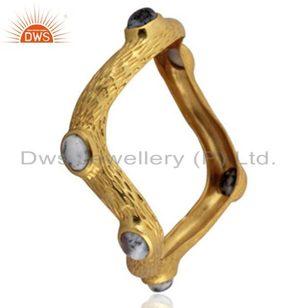 Supplier of Handmade 24k yellow gold brass brushed finish dendritic opal bangle