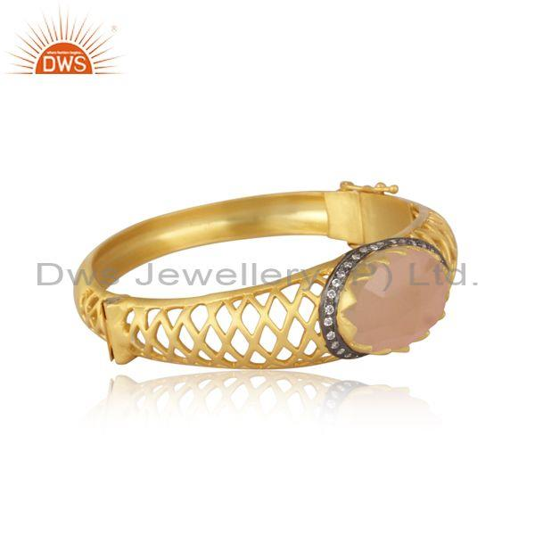 Cz and rose chalcedony set textured brass gold fancy ring