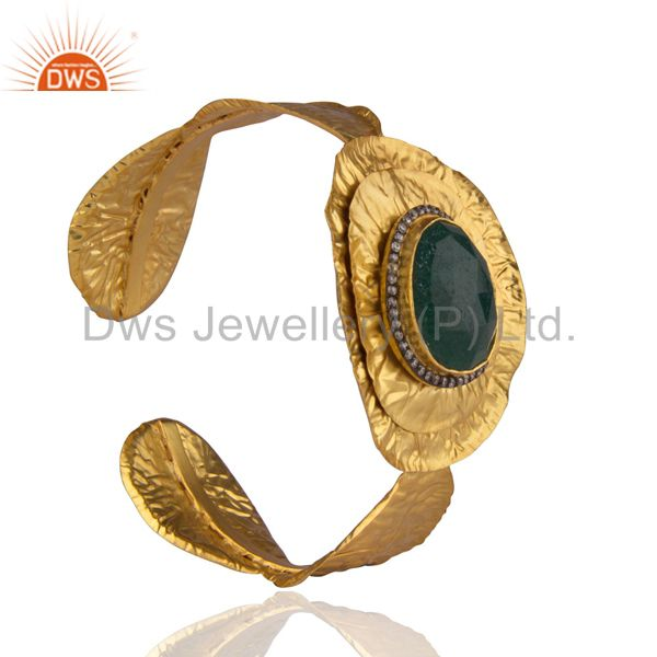 Exporter 22K Yellow Gold Plated Brass Green Aventurine Gemstone Cuff Bangle With CZ