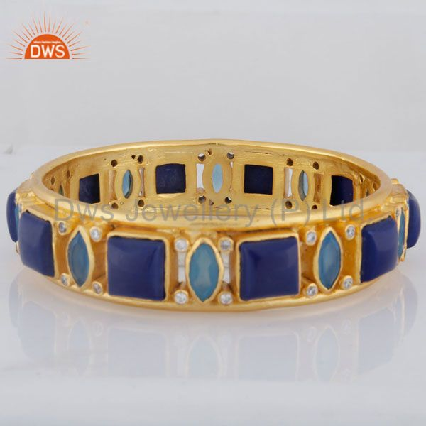 Supplier of 24k yellow gold over brass blue chalcedony lapis lazuli bangle cz