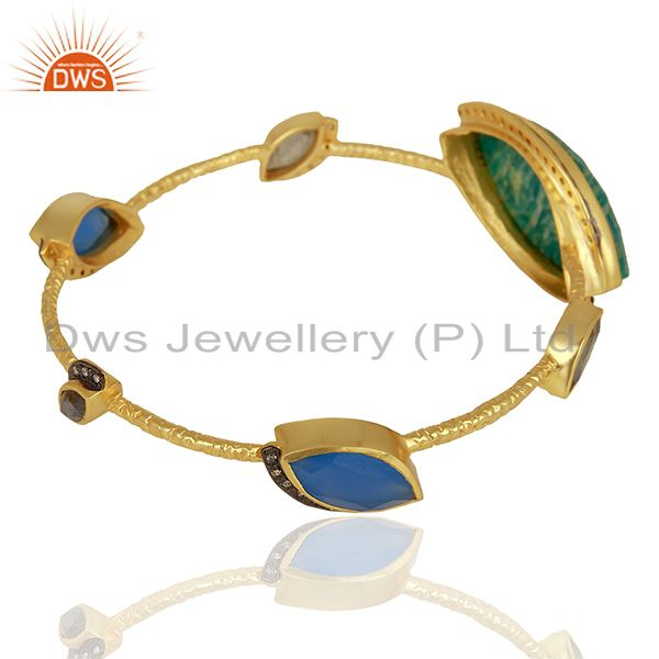 Supplier of Amazonite gemstone gold over womens brass bangle jewelry supplier