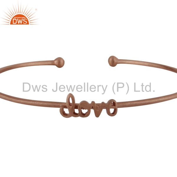 Supplier of 18k rose gold plated sterling silver love stackable bangle cuff
