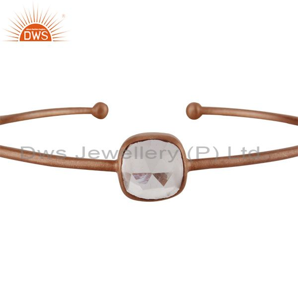 Supplier of 22k rose gold 925 sterling crystal quartz stackable torque bangle