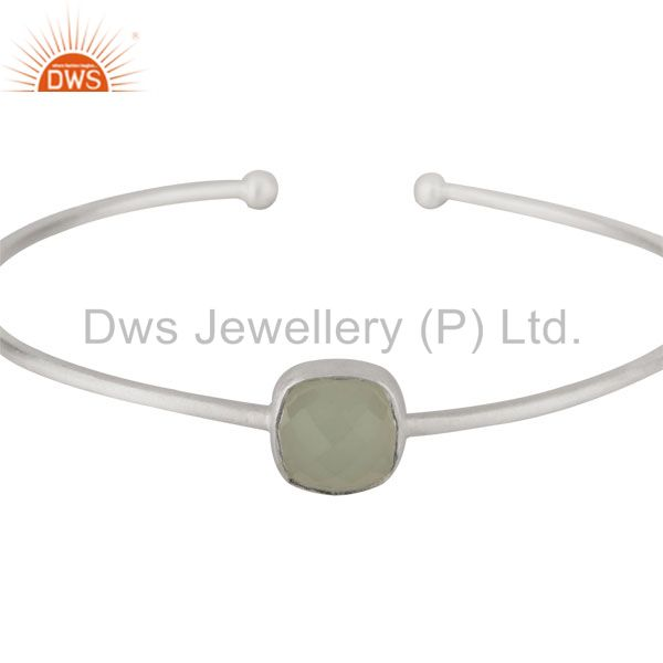 Supplier of Sterling silver green chalcedony gemstone stackable torque bangle
