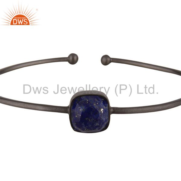 Supplier of Oxidized solid sterling silver faceted lapis lazuli torque bangle