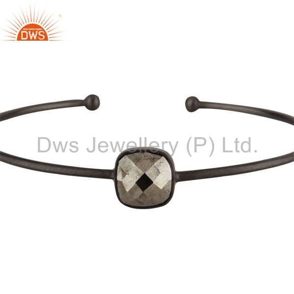 Supplier of Oxidized solid 925 sterling silver faceted pyrite torque bangle