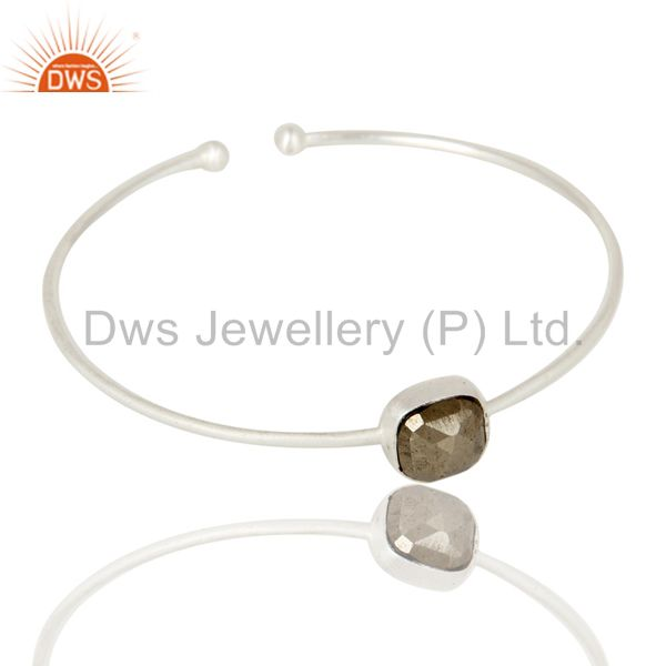 Supplier of Solid sterling silver faceted pyrite torque bangle bracelet