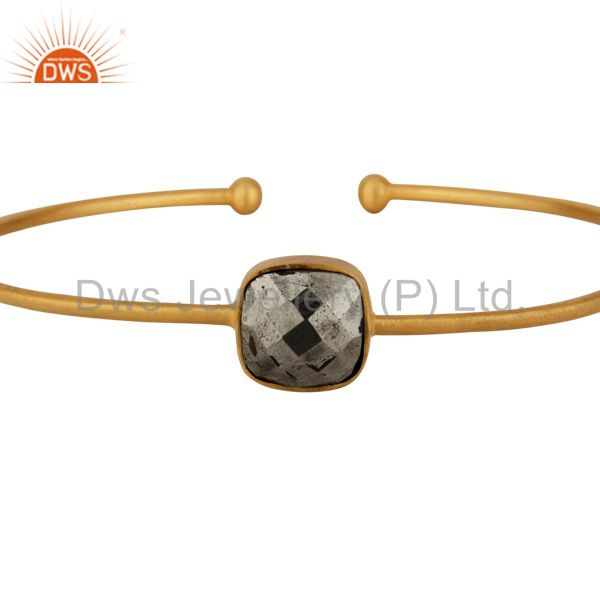 Supplier of 18k yellow gold on sterling silver pyrite stack torque bangle cuff