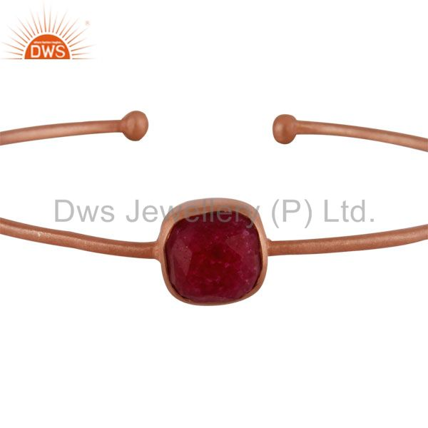 Supplier of 18k rose gold over 925 silver dyed ruby gemstone stackable bangle