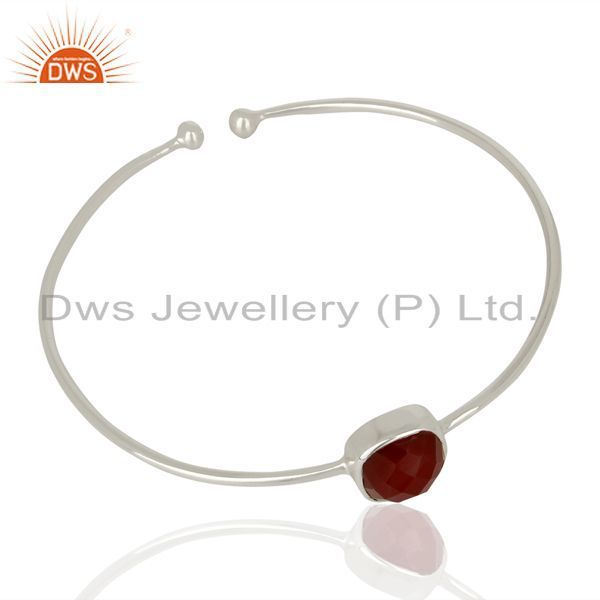 Supplier of Red onyx cuff 925 sterling silver bangle gemstone jewelry