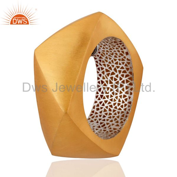 Supplier of 24k yellow gold plated solid 925 silver brushed wide cuff bangle