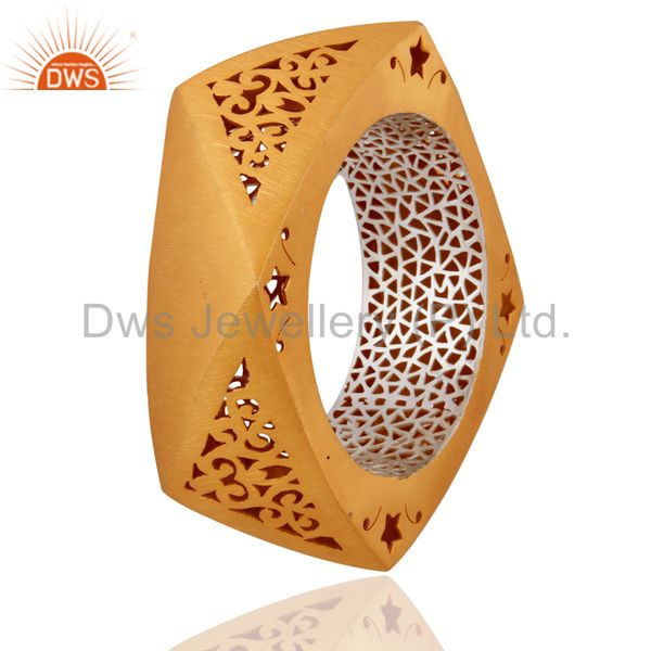 Supplier of 22k yellow gold over solid 925 silver brushed wide cuff bangle