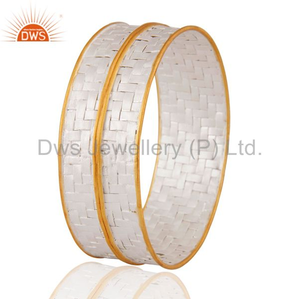 Supplier of Handcrafted gold plated 925 silver wide wire wrapped cuff bangle