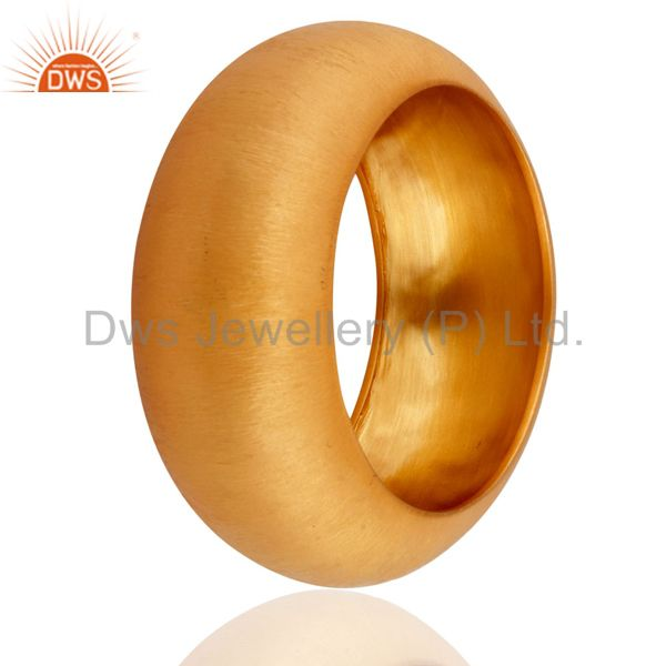 Supplier of Matte finish 24k yellow gold plated 925 silver wide bangle cuff
