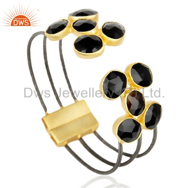 Exporter Natural Black Onyx Textured 18K Yellow Gold Plated Cuff Bangle Brass Jewelry