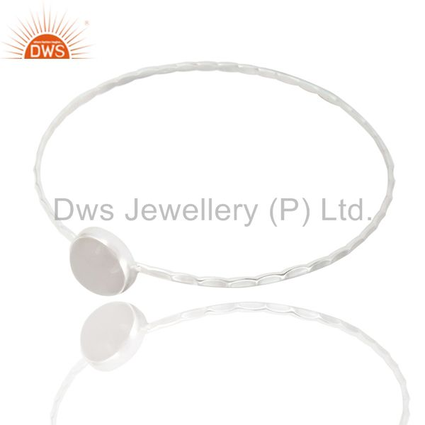 Supplier of Textured 925 sterling natural white chalcedony sleek design bangle