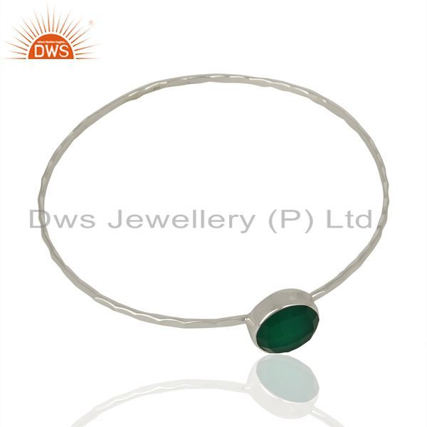 Supplier of Green onyx cuff 925 sterling silver bangle gemstone jewelry