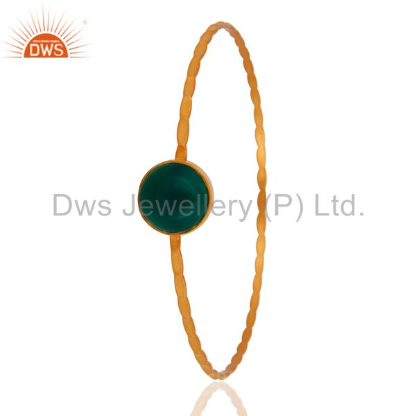 Supplier of 18k yellow gold plated sterling silver green onyx gemstone bangle