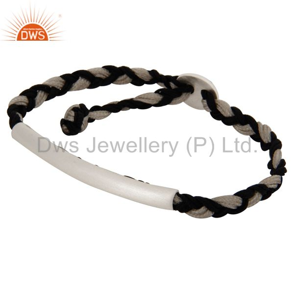 Exporter Solid Sterling Silver Curve Tube Bead Macrame Knot Cord Friendship Bracelet