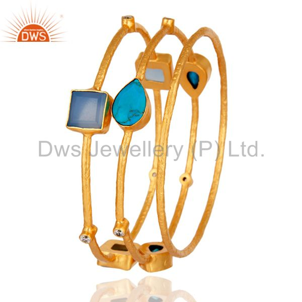 Supplier of Turquoise blue chalcedony 22k gold plated bridal fashion bangle